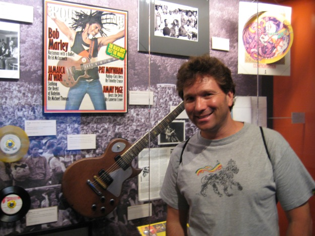 The author with Marley's Gibson Les Paul Guitar at the Grammy Museum in Los Angeles, August 2011.