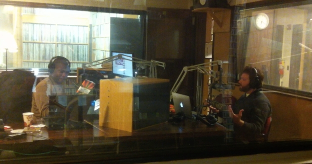 "The author being interviewed by Icon for ""In The Domain"" on WPKN Bridgeport, Dec. 28, 2013."