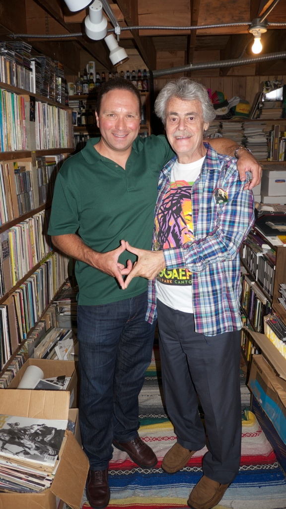 The author with noted reggae historian Roger Steffens in his archives, April 8, 2016.